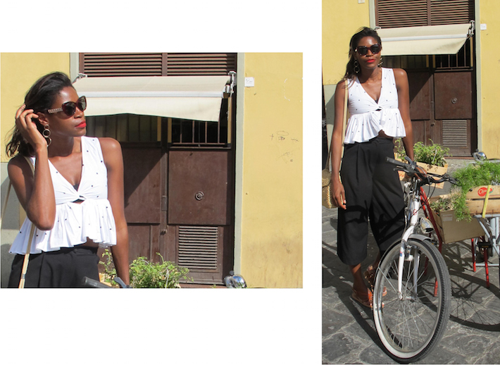 Pam_Tallfashionblog_zara_black_and_white_polka_dots_top_straw_bag_dsquared2_cateye_sunglasses
