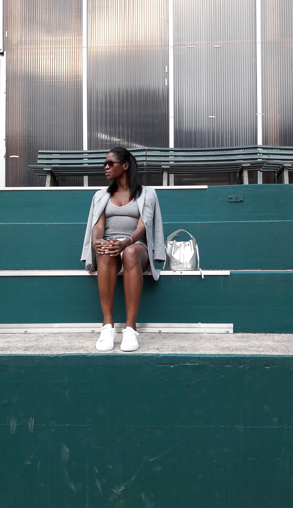 pam_Tallfashionblog_rayban_sunglasses_claude_zana_jacket_hm_silver_top_white_short_lacoste_white_sneakers